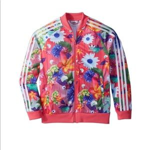 Adidas youth girls floral bomber track jacket M 10